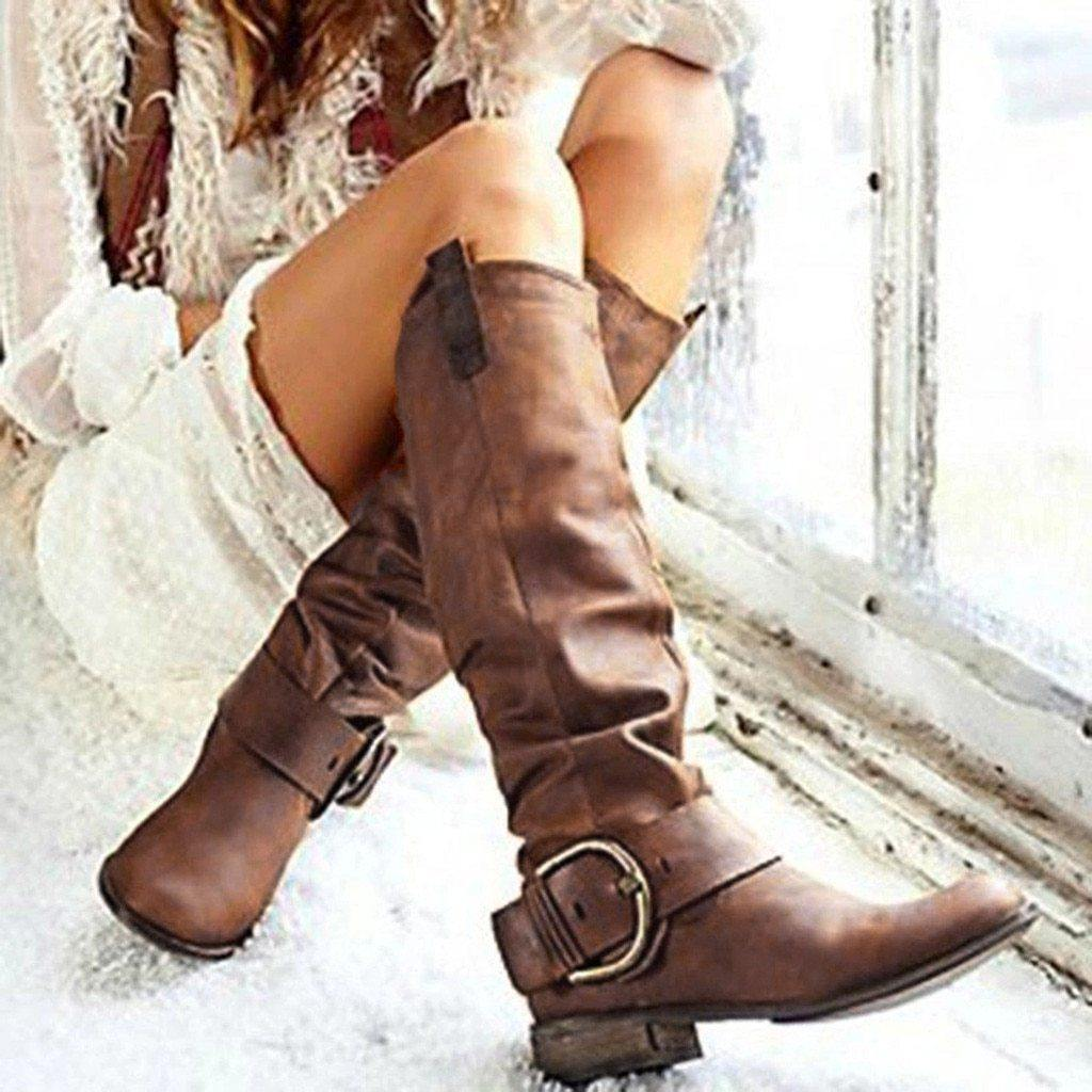 "Fashion Round Toe ""Buckled"" Riding Boots - fashionenvy"