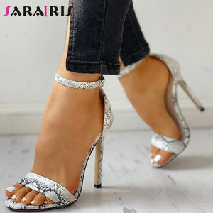 Snake Print Ankle Strap Party Heels - fashionenvy