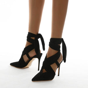 Lace-Up Pointed Toe Party Stilettos - fashionenvy