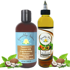 Peppermint & Coconut Milk Shampoo (Kinky, Coily) with Peppermint & Tea Tree Scalp Treatment Oil (Apricot) Bundle