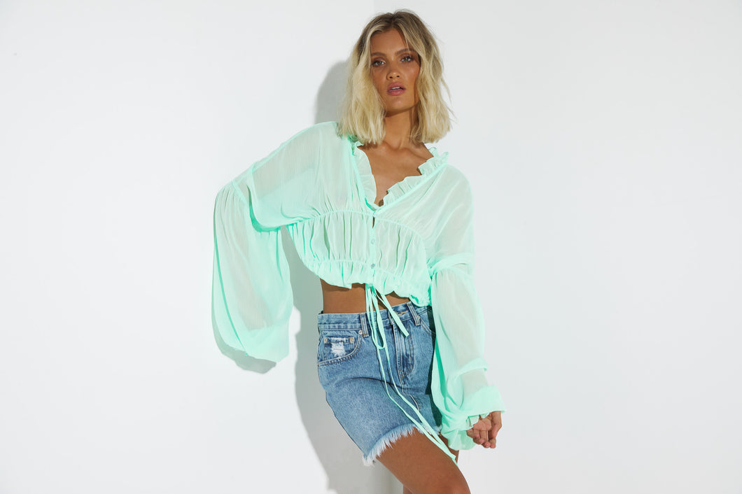 Mint All Day Crop Top