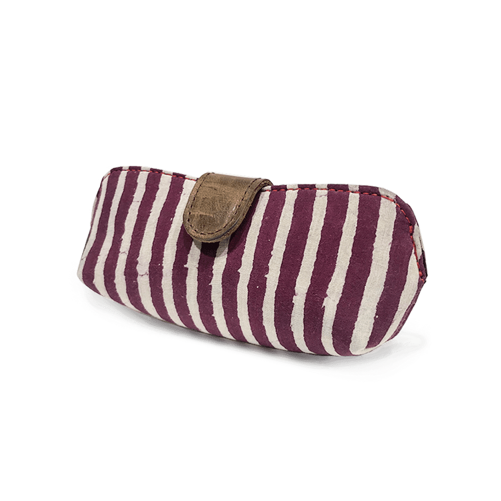 Red and White stripes Fabric Print Unisex Sunglasses Case - morecurry