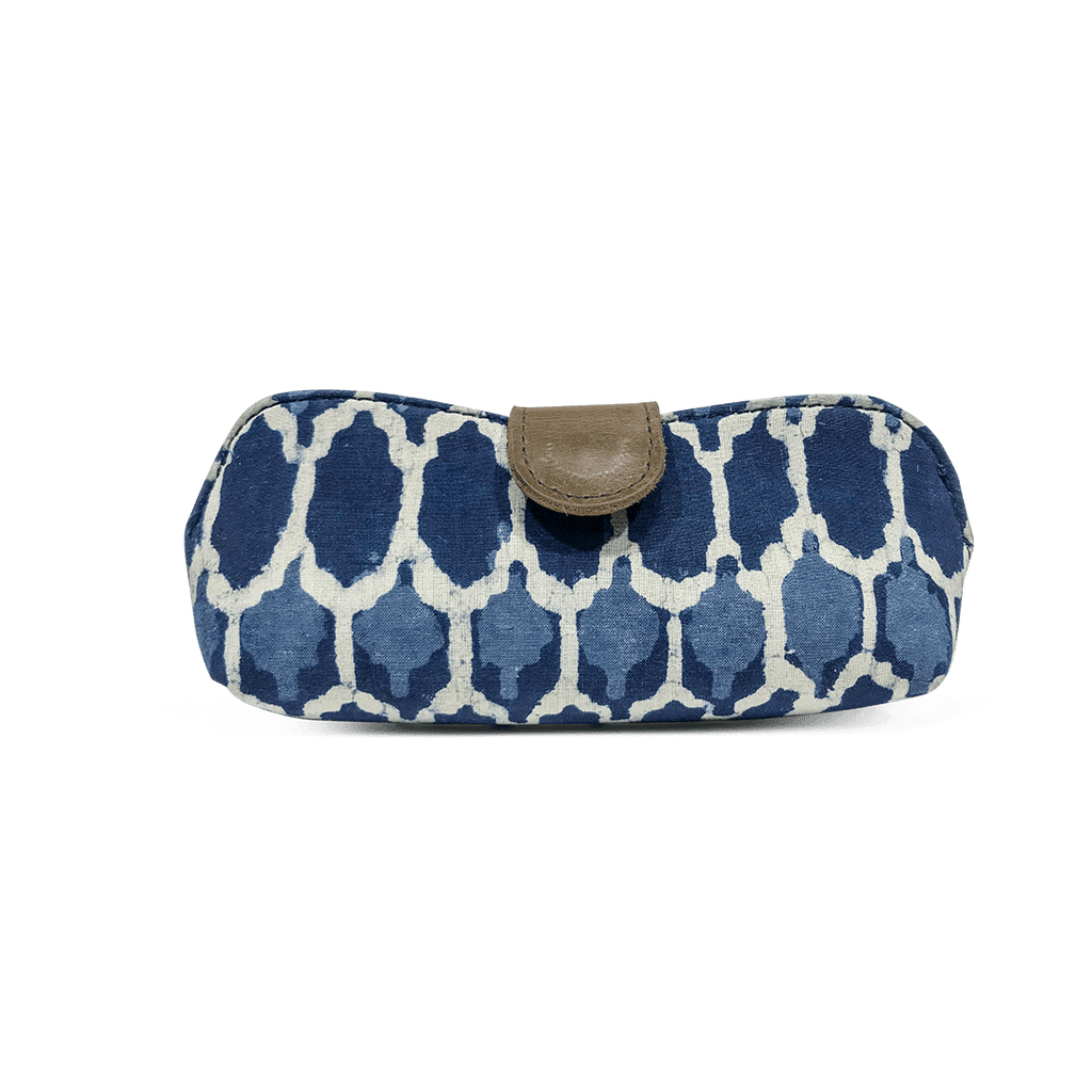 Traditional White and Indigo Hexagonal Pattern Fabric Print Unisex Sunglasses Case - morecurry