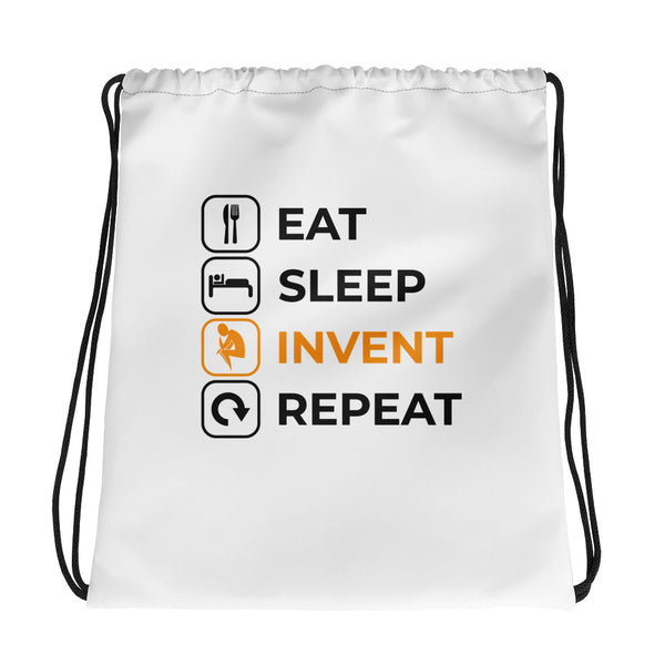 Eat Sleep Invent Repeat Drawstring bag