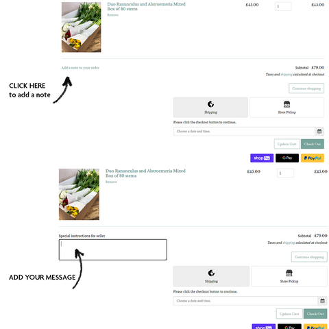 How to add a note to order image