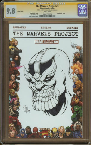 Mark Kidwell- Thanos Skrull Sketch Cover