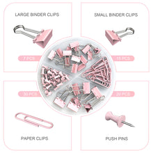 Load image into Gallery viewer, Binder-ClipsPaper-Clips-PushPins-1pack-pink