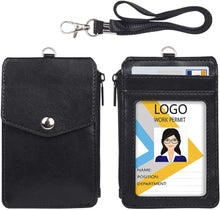 Load image into Gallery viewer, Teskyer-Leather-Badge-Holder-with-Zipper-Pocket-1