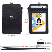 Load image into Gallery viewer, Teskyer-Leather-Badge-Holder-with-Zipper-Pocket-5
