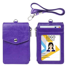 Load image into Gallery viewer, Teskyer-Leather-Badge-Holder-with-Zipper-Pocket-purple