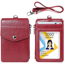 Load image into Gallery viewer, Teskyer-Leather-Badge-Holder-with-Zipper-Pocket-red