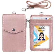 Load image into Gallery viewer, Teskyer-Leather-Badge-Holder-with-Zipper-Pocket-rosegold