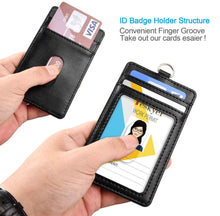 Load image into Gallery viewer, Teskyer-Upgrated-Vertical-Leather-ID-BadgeCard-Holder-with-Lanyard-3