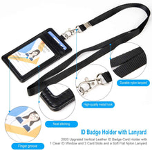 Load image into Gallery viewer, Teskyer-Upgrated-Vertical-Leather-ID-BadgeCard-Holder-with-Lanyard-5