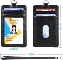 Load image into Gallery viewer, Teskyer-Upgrated-Vertical-Leather-ID-BadgeCard-Holder-with-Lanyard-6.
