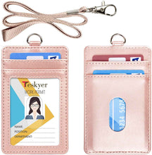 Load image into Gallery viewer, Teskyer-Upgrated-Vertical-Leather-ID-BadgeCard-Holder-with-Lanyard-Rose-gold