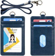 Load image into Gallery viewer, Teskyer-Upgrated-Vertical-Leather-ID-BadgeCard-Holder-with-Lanyard-blue