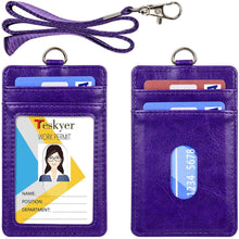 Load image into Gallery viewer, Teskyer-Upgrated-Vertical-Leather-ID-BadgeCard-Holder-with-Lanyard-purple