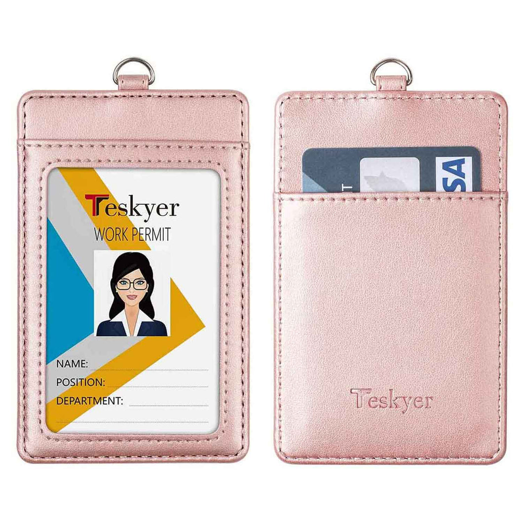 Teskyer Leather ID Badge Holder, Vertical PU Leather ID Badge Holder with 1 Clear ID Window-Rose Gold