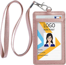 Load image into Gallery viewer, Teskyer-Vertical-PU-Leather-ID-Badge-Holder-Rose-Gold-2