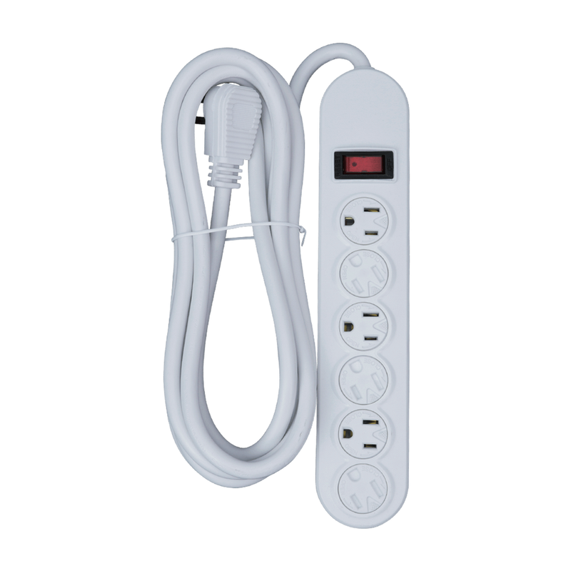 6 Outlet Power Strip, White or Black - 9 or 12 Foot Cord