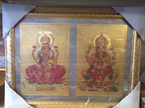 "Goddess Laxmi and Ganesha in 18"" x 22"" Golden Frame"