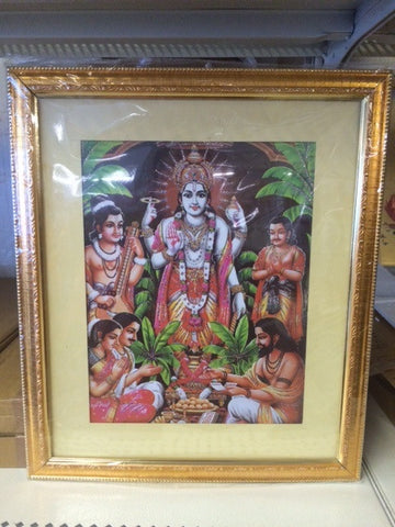 Lord Satyanarayana in a Golden Frame