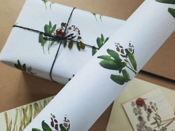 Green leaves wrapping paper on white paper
