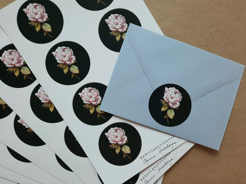 Vintage rose sticker set