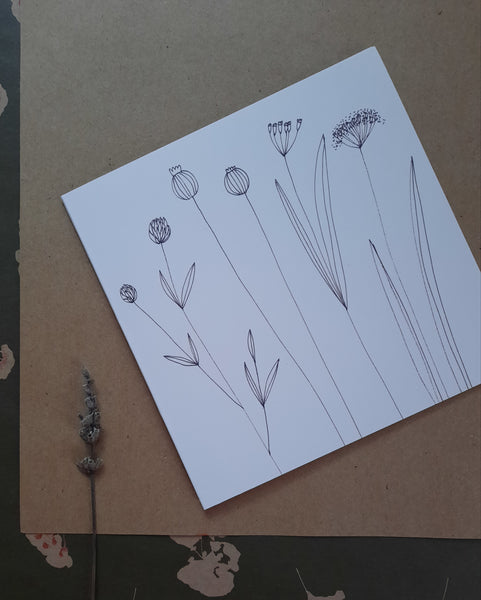 Graphical floral card, folded card
