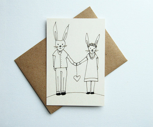 Bunnies couple, postcard