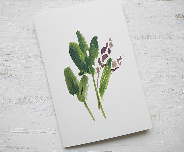 Green leaves card, folded card