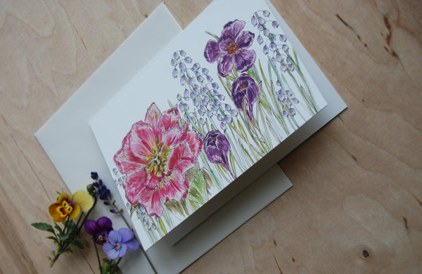 Spring flowers card, folded card
