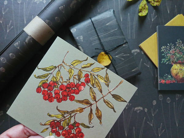 Rowan berries, folded card
