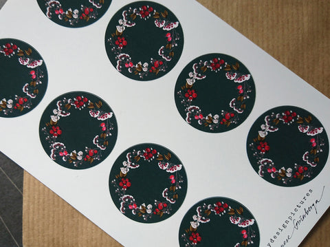 Floral wreath sticker set
