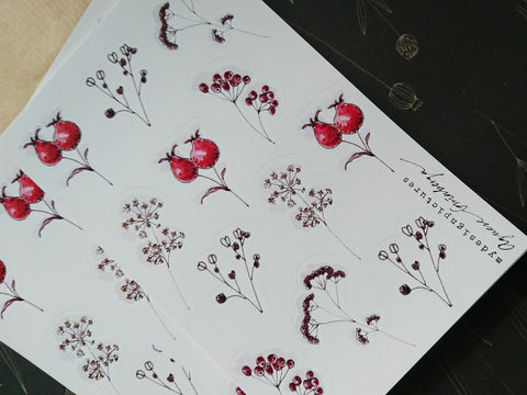 Winter florals sticker set