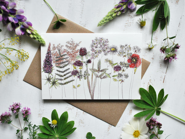 Rustic flowers card, folded card