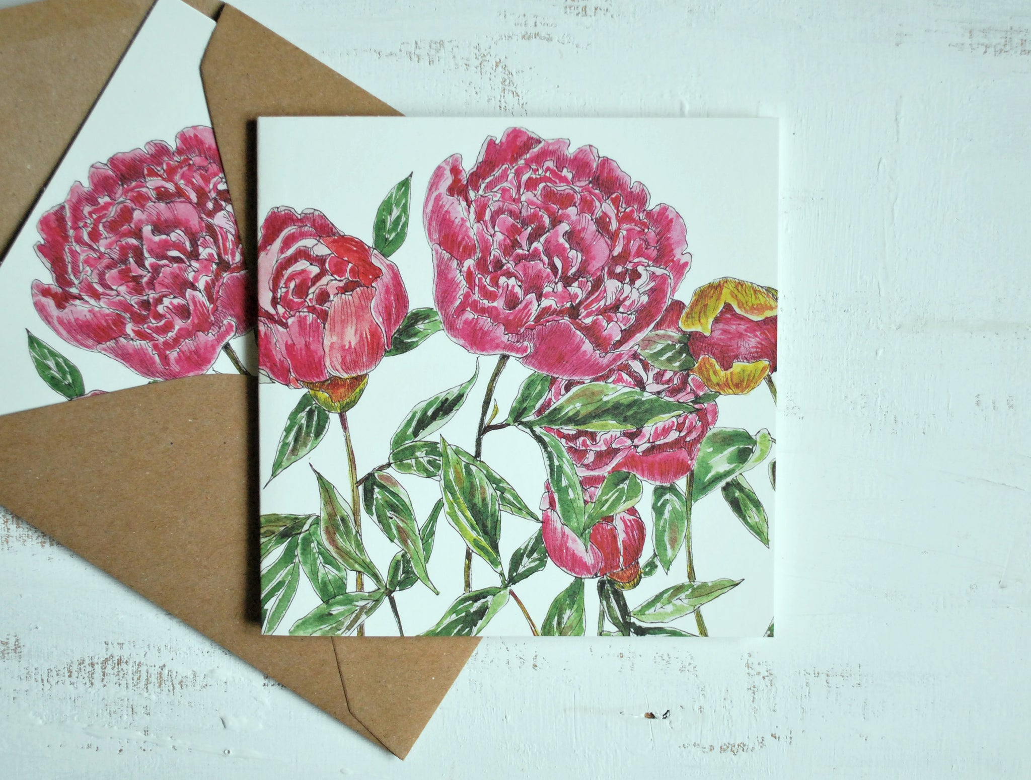 Bright pink flowers card, folded card