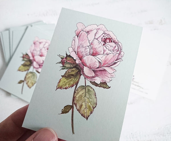Vintage rose card, small flat card