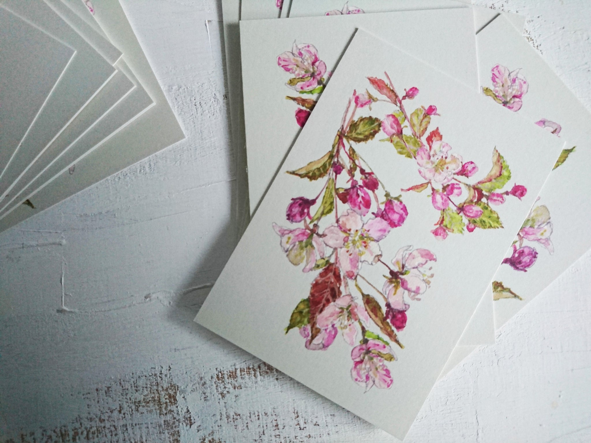Plum tree blossom, small flat card