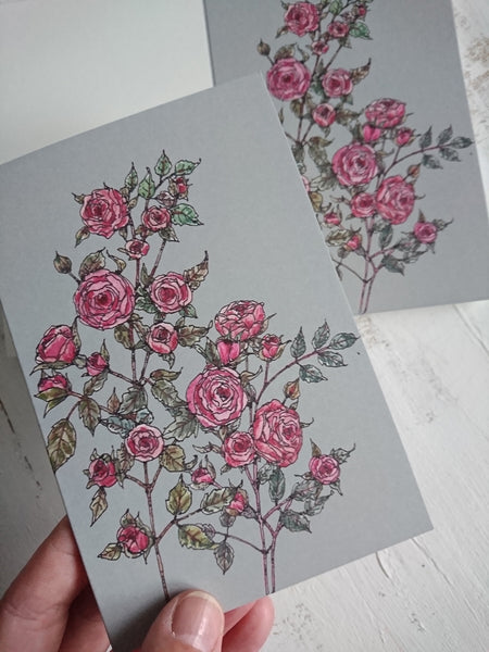 Small roses card, folded card