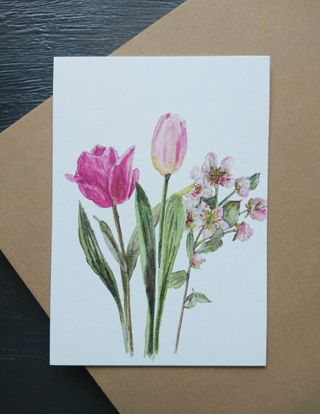 Spring flowers, small flat card