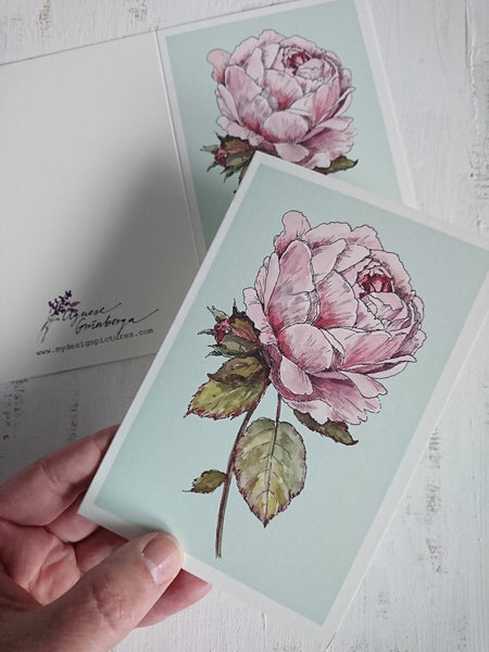 Romantic vintage rose card, folded card
