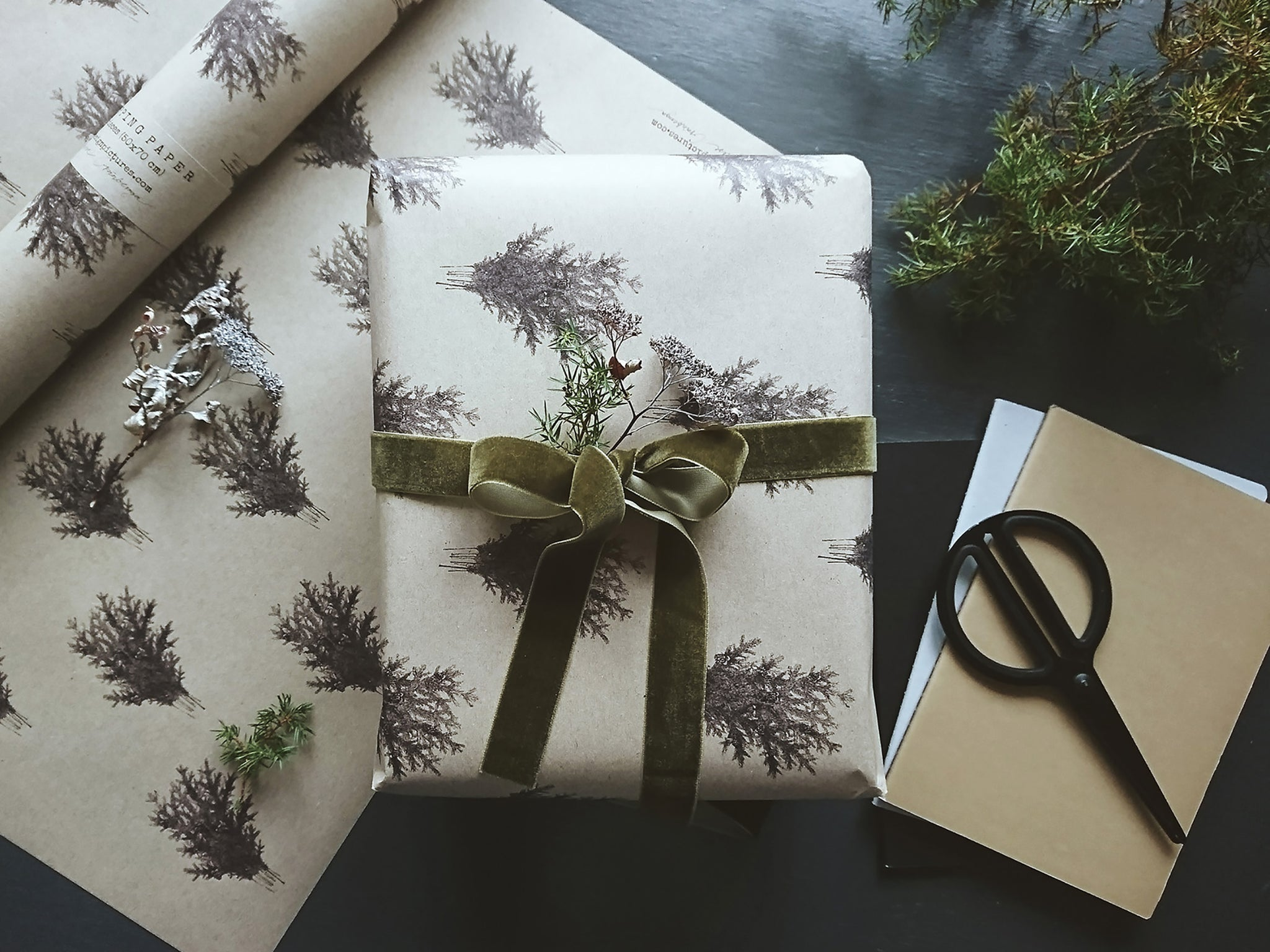 Graphical wrapping paper with spruce branches