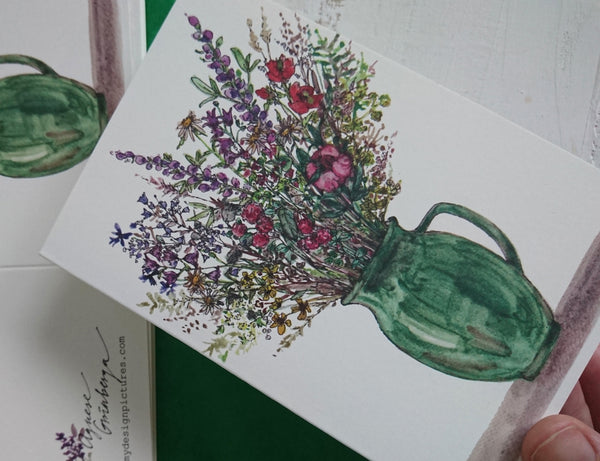 Rustic flowers in a green vase, folded card