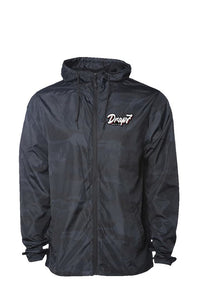 Black Camo Water Resistant Windbreaker