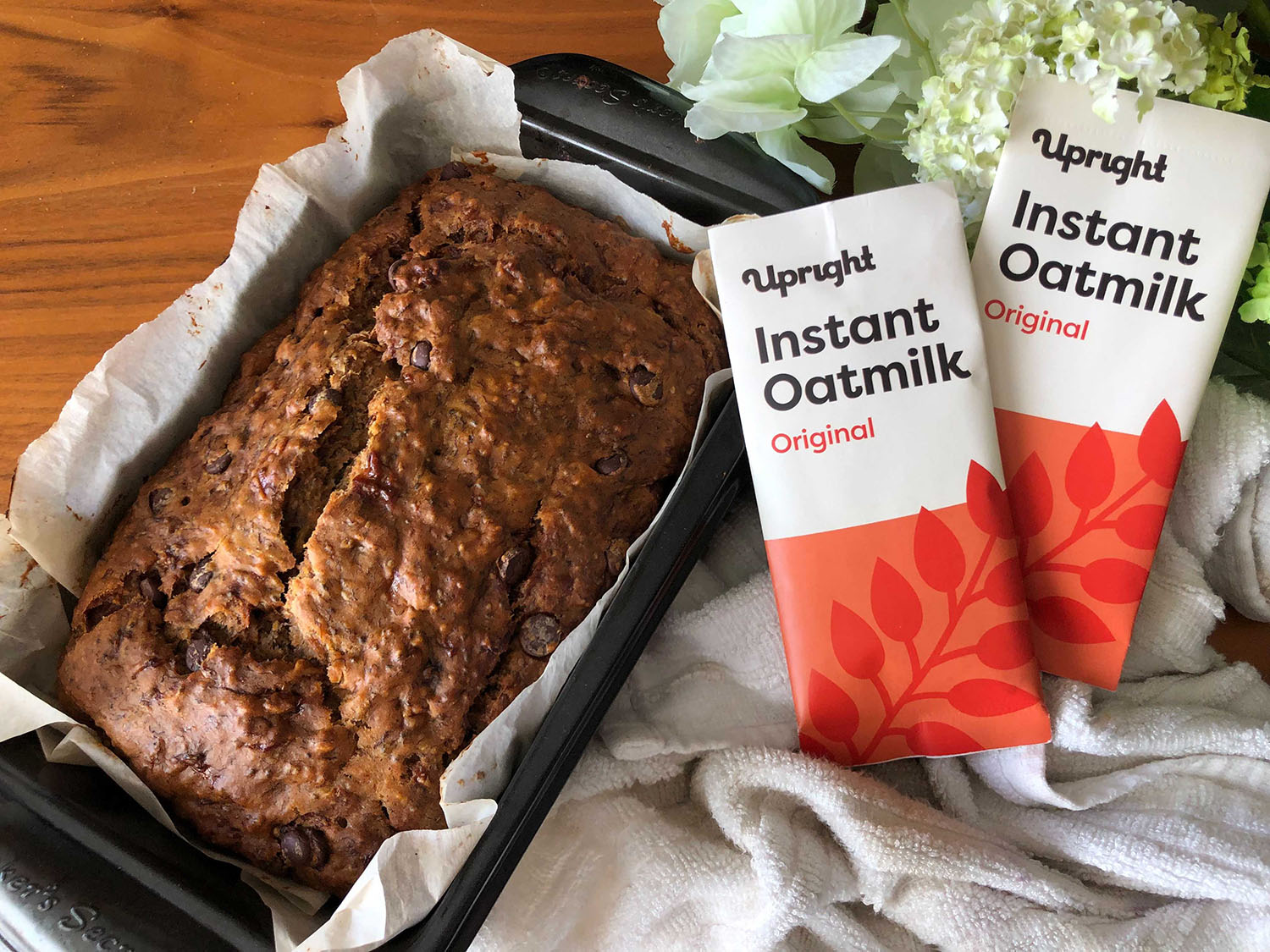 healthy banana bread made with Upright instant powdered oatmilk