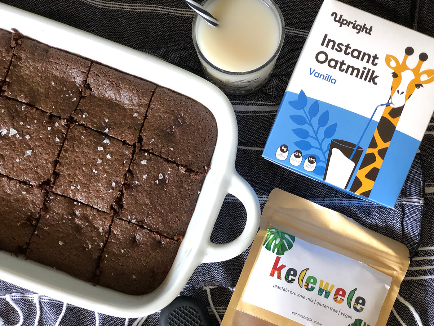 vegan brownies made with Upright instant powdered oatmilk