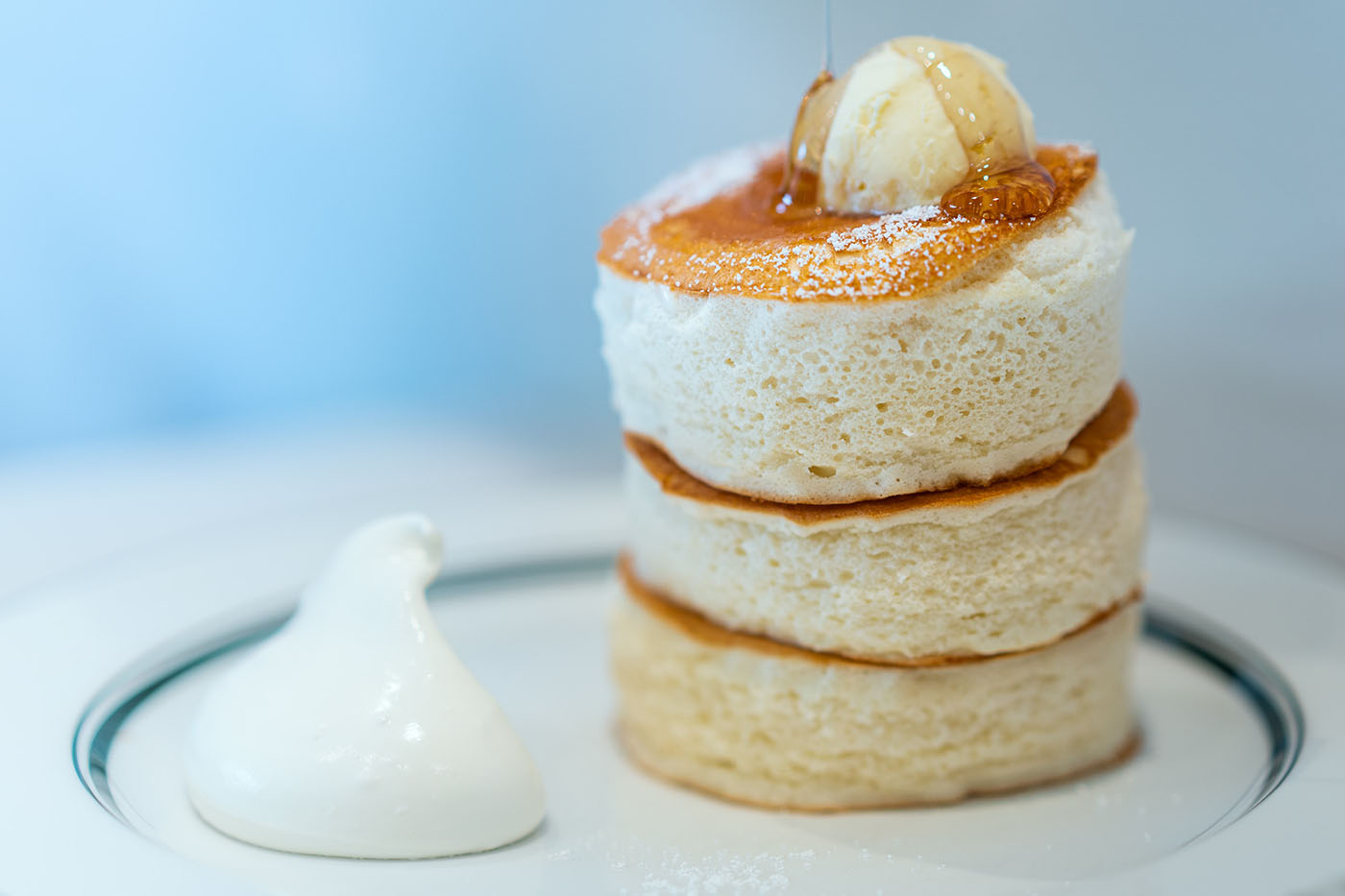 souffle pancake made with Upright instant powdered oatmilk