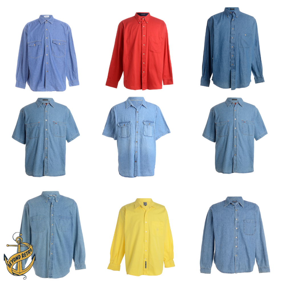 Box of Mens Denim Shirts, 14kg (32lb), approx 33 units